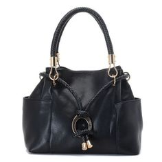 Michael Kors Skorpios Drawstring Satchel Black Leather