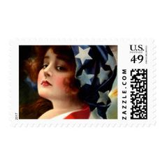 Vintage Flag Lady July 4th Patriotic Postcard Art Postage #postage #stamps #customstamps #mail #invites #letters #postage #postage stamp