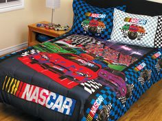 3pc Boys Nascar Race Car Bed In A Bag Comforter Set Twin/full Size