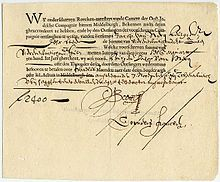 A bond issued by the Dutch East India Company, dating from 7 November for the amount of florins. This Day in History: Mar Dutch East India Company East India Company, Security Finance, World History Facts, History Quotes, Amsterdam, Strait Of Malacca, Bond Issue, Dutch East Indies, Company News
