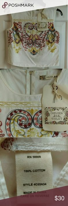 NWT Chelsea & Violet Aztec print Cropped Top NWT Chelsea & Violet Aztec print Cropped Top %100 cotton Chelsea & Violet Tops Crop Tops