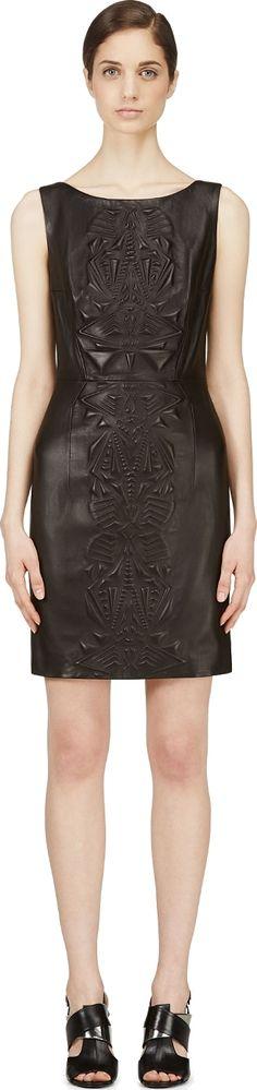 Iris van Herpen - Black Embossed Leather Dress   SSENSE
