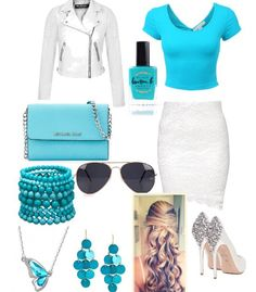 Aqua..... Love this combo of nails and beauty and fashion!