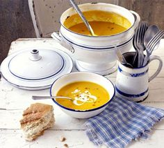 A smooth vegetable soup with blue cheese that's great for a comforting meal. A broccoli and stilton soup recipe triple-tested by the BBC Good Food team. Bbc Good Food Recipes, Soup Recipes, Cooking Recipes, Healthy Recipes, Recipies, Carrot Recipes, Broccoli And Stilton Soup, Carrot And Lentil Soup, Spicy Carrots