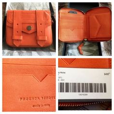 Proenza Schouler PS1 Leather Zip Wallet Orange NEW New in box, with price tag, never used.  Fits 5 credit cards plus 2 separate compartments behind the change purse, and the billfold, all zipped up securely.  *Matches an Orange suede PS1 Tote I am selling as well.* (That bag has since sold)  I just never used them. They were so beautiful though, I guess I couldn't resist at the time.  Yours for much less than retail!!  I do bundle;  I don't trade.THIS PURCHASE QUALIFIES FOR A DELUXE MAKEUP…
