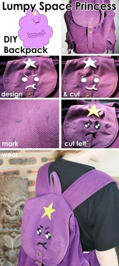 Lumpy Space Princess backpack - 15 Clever Back To school DIY Projects