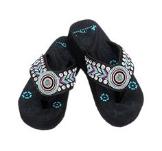 Montana West Aztec Beaded Flip Flops Wedge Sandals >>> Click image for more details. (Amazon affiliate link)