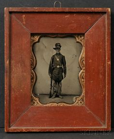 Quarter Plate Tintype of an Elderly Union Soldier Standing at Attention...wonderful picture, amazing frame!