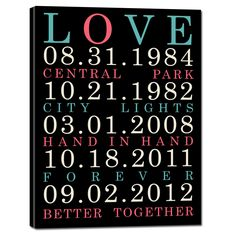canvas art anniversary gift idea. Special Dates Wall Art - by Geezees (Canvas makes a GREAT cotton anniversary gift - celebrate 2 years!)