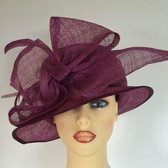 Ladies Wedding Hat Races Mother Bride Ascot Hat Plum Pink