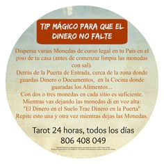 Consejo Mágico para que el Dinero no Falte   ~ TAROT con Margui Centeno Always Be Positive, Positive Vibes, Tarot, Herbal Magic, Wiccan Spells, Taoism, Witches Brew, Feng Shui, Reiki