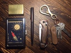Wood & Brass EDC Mk I  submitted by McAllister  Corter Leather and Cloth Bottlehook  Victorinox Swiss Army EvoWood 81 Swiss Army Knife  Benchmade North Fork Folder  Custom Wood Pen  Zippo Brass Lighter  1959 Russia Satellite Space Stainless Steel ID or Cigarettes Case (King Size or 100mm)