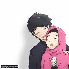 Cute Couple Comics, Cute Couple Cartoon, Cute Couple Art, Cute Cartoon Girl, Romantic Anime Couples, Cute Muslim Couples, Anime Couples Manga, Cute Anime Couples, Drawing Cartoon Characters