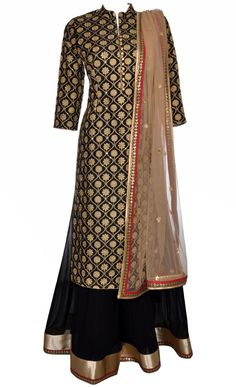 This set features a high collared black long shirt in silk base with all over gold zari embroidered motifs both on the front and back of the shirt. It is paired with a matching huge flared sharara is pure georgette base with gold shimmer and red silk border and gold sequins hand embroidered botis. It come with a light gold net dupatta with gold shimmer and silk border along with gold sequins botis and all over gold sequins botis on the dupatta. Amp up your ethnic style by adorning into this…
