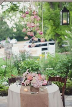 Hanging roses provide a such creative focal point for an elegant tea.