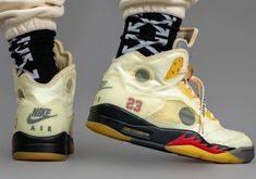 Updated On-Foot Look At The Off-White x Air Jordan 5 Fire Red Nike Fashion, Sneakers Fashion, Fashion Shoes, Shoes Sneakers, Jordans Sneakers, Mens Fashion, White Jordans, Jordan 5 Low, Fashion Clothes