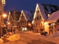 Lighted trees and houses in Schöckingen