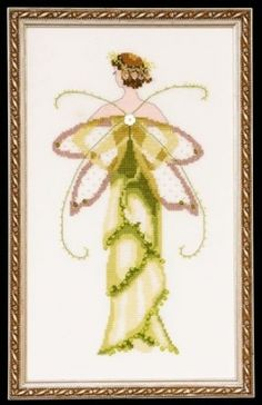 "NC135 - Amaryllis-Spring Garden - Pixie Couture Collection - Nora Corbett Designs (Mirabilia Designer) Uses / Description: 862101 Antique White Jobelan 32ct, 429101 Antique White Jobelan 28ct, 65110 French Lace Linen 32ct, 355110 French Lace Aida 16ct  Beads: (# of pkgs) 03021 (1), 16615 (1), 42102 (1)  Treasures: (# of pkgs) 12005 (1), 13051 (4), 13070 (2)  Kreinik: See website. See Nora Corbett Embellishment Pack: NC135e  **Approximate design size 5"" w x 9.94"" h"