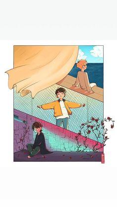 Maknae line bts Japan Design, Bts Bangtan Boy, Bts Jimin, Fan Art, Arte Do Kawaii, Bts Maknae Line, Kpop Drawings, Art Anime, Bts Chibi