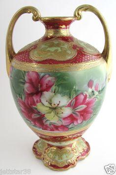 Antique Hand Painted Porcelain Nippon Azalea Gold Decoration Vase  c.1900