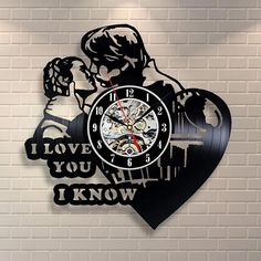 Heart CD Record Wall Clock Princess Leia Han Solo I Love You Vinyl Record Star Wars