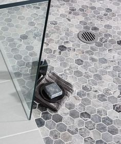 We are keen on hexagonal mosaic tiles for the shower floor and walls. Or just walls or just floor. Shower Floor Tile, Master Shower, Trendy Bathroom, Bathroom Shower Tile, Mosaic Bathroom, Amazing Bathrooms, Bathroom Flooring, Shower Floor, Bathrooms Remodel