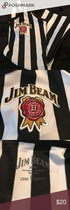 Jim Beam Referee Tank Super cute Jim Beam tank that resembles a referee outfit with the vertical black and white stripes. Doesn't fit me so it's never been worn. Tops Tank Tops