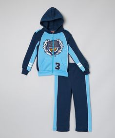 Look at this #zulilyfind! Blue 'Trophy' Zip-Up Hoodie & Pants - Infant, Toddler & Boys by Allura Imports #zulilyfinds