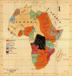 Colonial powers in Africa, as mapped by Chicago's Wells Missionary Map Co. in 1908. This would be a beautiful piece for the home office or study