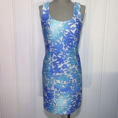 """30% OFF BUNDLES🎉HP🎉Blues/Purple Ombré Dress -NWT Blues/Purple/White Ombré Sleeveless Dress...New w/ Tags. Gorgeous design and colors in this stylish dress with back top having a material strap across. Very stretchy...no zippers. Made of 91% polyester & 9% spandex; lining is 100% polyester...machine washable. Medium measures 36"""" in length, 19.5"""" across bust line & 15.5"""" across waist. Small measures 34"""" in length; 16.5"""" across bust line & 14.5"""" across waist line. No trades/No PayPal. Feel…"""
