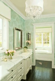 Gorgeous Ivory Turquoise Blue Master Bathroom Design With Patterned Wallpaper Beaded Beveled Mirror White Vanity Cabinet