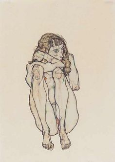 Sitting Female Nude, Egon Schiele - ref for crouching position especially knees/calves