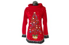 Bejeweled Christmas Tree Longer Length Big Collar Tacky Ugly Sweater Women's Size Large (L) $25
