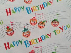 Vintage Gift Wrapping Paper - Juvenile Kid's Birthday - Musical Birthday Circus Clowns - 1 Unused Full Sheet Birthday Gift Wrap
