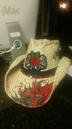 1775501a Flame Cowboy Hat with Metal Studs by chickstudios on Etsy, $48.50 ...