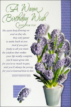 Just For You Birthday Poems Wishes Cards Happy Helen