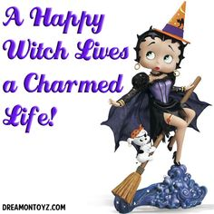 A Happy Witch leads a Charmed Life ➡ More Betty Boop Graphics & Greetings http://bettybooppicturesarchive.blogspot.com/  ~And on Facebook~ https://www.facebook.com/bettybooppictures Witch #BettyBoop riding her broomstick with pirate Pudgy #Halloween