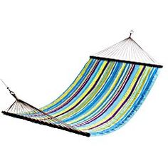 "Outdoor Catalina cove Hammock  Multicolor   55.25""W x 90.5""L  Polyester, rope, wood, metal  for outdoor use only.  Fabric treated for color fastness and UV protection. spot clean only.  Exclusively Pier 1 Imports."