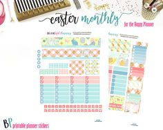 Easter April Monthly // Happy Planner // Printable Planner Stickers // Cut Line Files // Planner Printable // Monthly View by BEaYOUtifulPlanning on Etsy