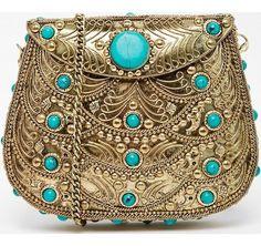 borsa pietra stile turchese tracolla a catena