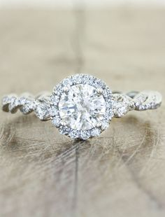 Unique Halo engagement ring - vintage flare by Ken & Dana Design