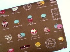Cakes Printed Cafe French Patisserie Desserts Cotton Curtain Upholstery Fabric