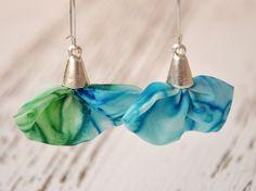 Hand painted silk earrings in multi colored   by KatarzynaKaMaART, $15.00