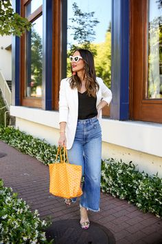 Sharing a new bright handbag I snagged for summer and why I wasn't afraid to go bold on a designer splurge! Yellow Purses, Yellow Handbag, Goyard Tote, Blue Jean Outfits, Yellow Fashion, Colourful Outfits, Cloth Bags, Capsule Wardrobe, Spring Outfits