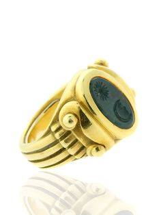 BARRY KIESELSTEIN CORD BLOODSTONE RING IN YELLOW GOLD