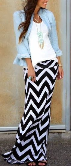 Chevron Maxi Skirt With White Blouse And Denim Shirt | Fashion Style Attire
