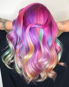 amazing mermaid hair looks Vivid Hair Color, Hair Dye Colors, Cool Hair Color, Funky Hairstyles, Pretty Hairstyles, Rave Hair, Pelo Multicolor, Neon Hair, Pinterest Hair