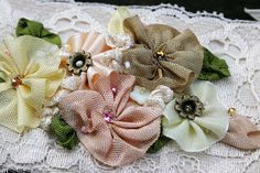 Ribbonwork Flowers and Lace Cuff - Mocha - Soft Peach - Spft Yellow