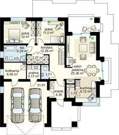 Projekt domu Lupo II 95.78 m² - Domowe Klimaty Modern Family House, House Entrance, Dream House Plans, Ground Floor, Planer, Building A House, Floor Plans, House Design, Flooring