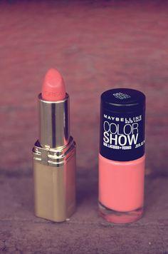 Coral Rose Nail Polish and Coral Rose Lipstick #makeup #cosmetics